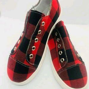 Shoes - Buffalo Plaid Canvas Sneakers